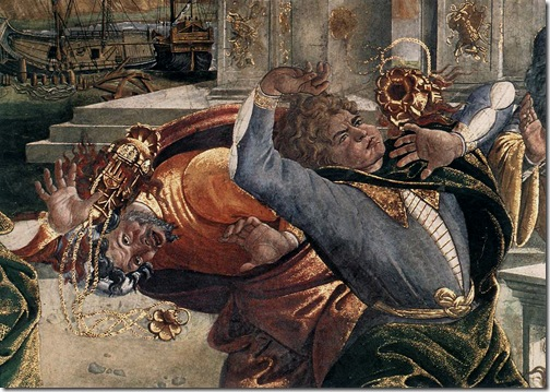 Detail: Conturbation of the Laws of Moses: The Punishment of Korah, Dathan and Abiram, 1481-1482, Sandro Botticelli