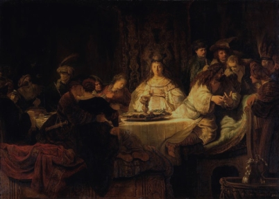 Samson Tells a Riddle at His Feast (Samson tells the riddle at the wedding table / Samson's Wedding / The Wedding Feast of Samson/ Le Mariage de Samson / Simsons Hochzeit), 1638, Rembrandt van Rijn