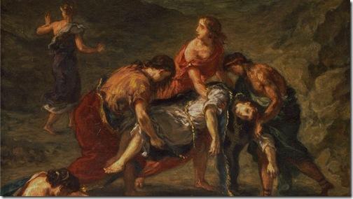 DETAIL: St. Stephen Borne Away by his Disciples, 1862, Eugène Delacroix