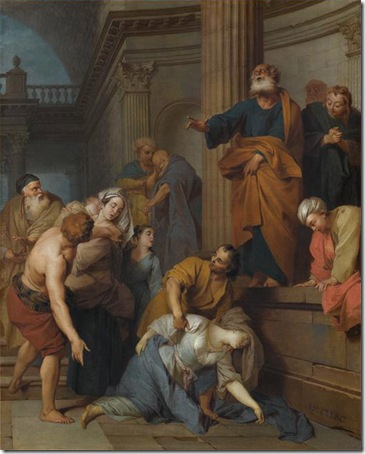 The Death of Sapphira (La Mort de Saphire), 1718, Sébastien Le Clerc II