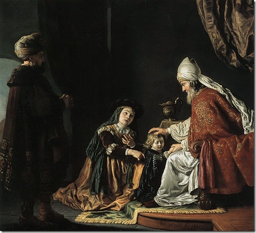 Hannah Giving Her Son Samuel to the Priest (Hannah übergibt ihren Sohn Samuel dem Priester Eli), 1645, Jan Victors