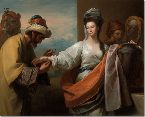 Isaac's servant tying the bracelet on Rebecca's arm, 1775, Benjamin West