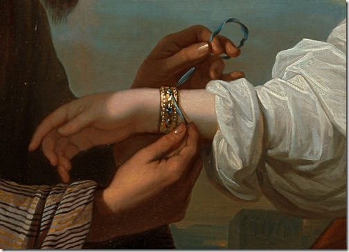 DETAIL: Isaac's servant tying the bracelet on Rebecca's arm, 1775, Benjamin West