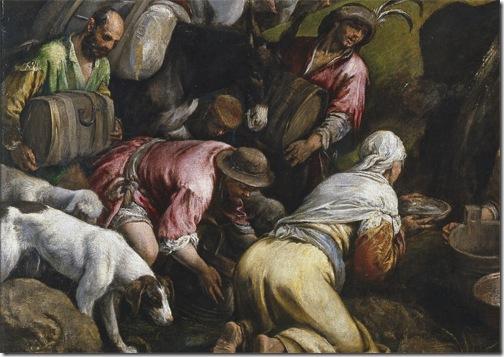 """DETAIL: """"The Israelites drinking the Miraculous Water"""" (""""Los israelitas bebiendo el agua milagrosa""""), 1563-1565, Jacopo Bassano"""