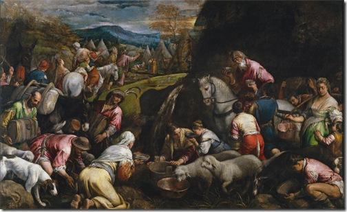 """""""The Israelites drinking the Miraculous Water"""" (""""Los israelitas bebiendo el agua milagrosa""""), 1563-1565, Jacopo Bassano"""