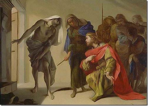 """The Shade of Samuel Invoked by Saul"", c. 1650-56, Bernardo Cavallino"