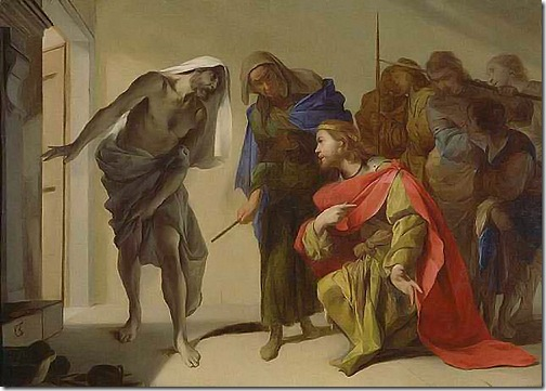 """The Shade of Samuel Invoked by Saul"", c. 1650-56, Bernardo Cavallino"