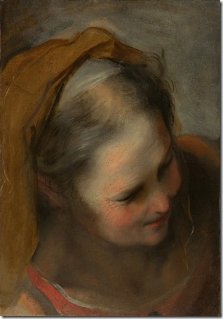 Oil study for the Head of St. Elizabeth, c. 1585, Federico Barocci
