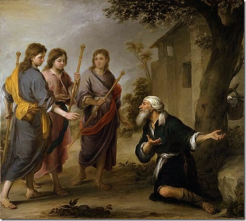 Abraham and the Three Angels (Abraham Receiving the Three Angels / Abraham y los tres Ángeles), c. 1670-1674, Bartolomé Esteban Murillo