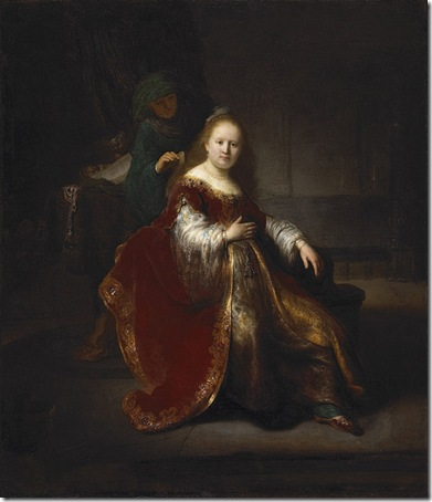 "Esther Preparing for the Meeting with Ahasuerus (""A Woman at her Toilet""), 1632 or 1633, Rembrandt van Rijn"
