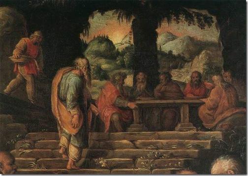 DETAIL: The Miracle of Elisha (Miracolo di Eliseo / il Profeta Eliseo che risana i cibi / Il profeta Eliseo), ca. 1566, Giorgio Vasari