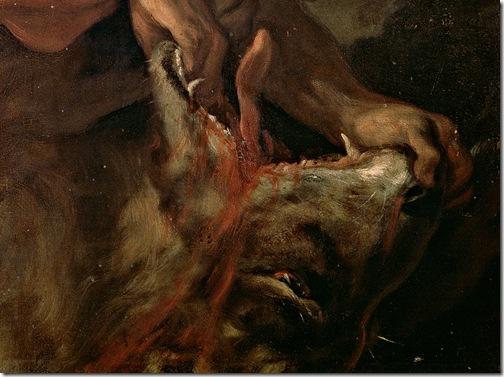 DETAIL: Samson and the Lion (Sansón y el león), 1695-1696, Luca Giordano