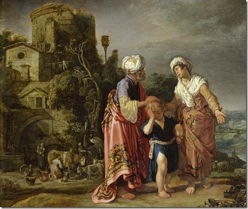"""DETAIL: Hagar's Expulsion (""""Punishment of Hagar and Ishmael"""" / """"Hagar's farewell"""" / Die Verstoßung der Hagar / """"Abschied Hagars""""), 1612, Pieter Lastman"""