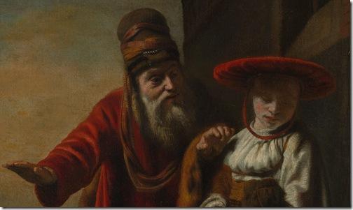 DETAIL: Abraham Dismissing Hagar and Ishmael, 1653, Nicolaes Maes