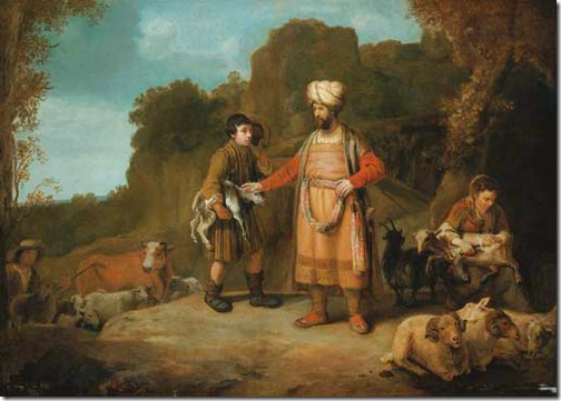 Judah and Hira the Adullamite, ca. 1640, School of Rembrandt van Rijn