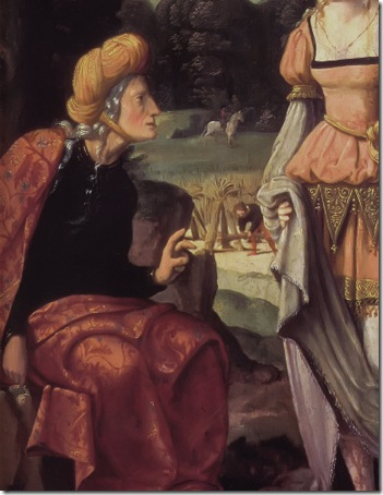 DETAIL: Ruth and Naomi in the field of Boaz (Ruth und Naemi auf dem Acker des Boas), c. 1530-40, Jan van Scorel