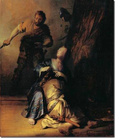 Samson and Delilah (Samson verraden door Delila), 1628, Rembrandt van Rijn