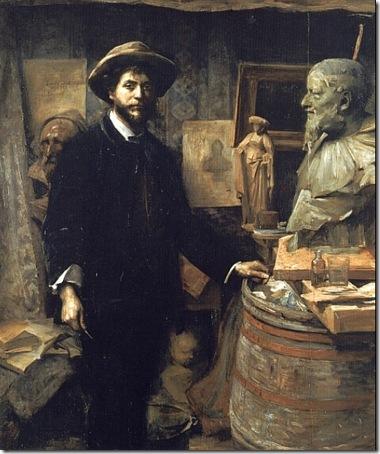 The Sculptor Jean Carries in his Atelier (Portrait de Carriès dans son atelier), 1885-1886