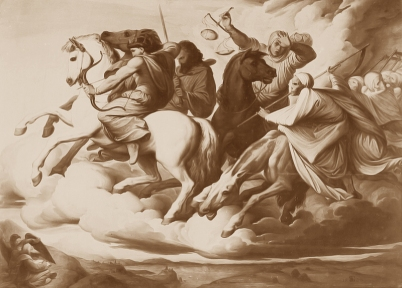 Four Horsemen of the Apocalypse (Die apokalyptischen Reiter / Les Quatre Cavaliers de l'Apocalypse), 1838, Edward von Steinle. Photo sepia-toned.