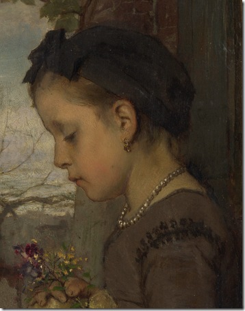 DETAIL: A Girl seated outside a House, 1867, Jacob Maris