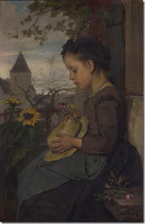 A Girl seated outside a House, 1867, Jacob Maris