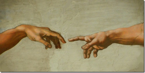 The Creation of Adam, detail, Sistine Chapel ceiling, central section, c. 1508-1512, Michelangelo Buonarroti