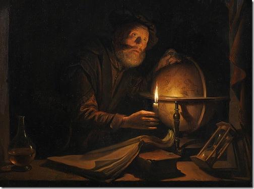 The Astronomer (De Astronoom), detail, 1650-1655, Gerrit Dou