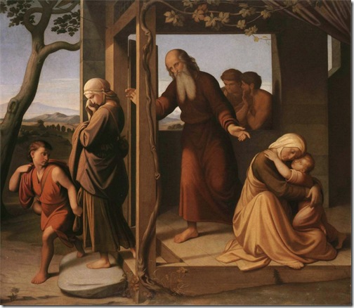 Abraham Casting Out Hagar and Ishmael (Expulsion of Hagar and Ishmael by Abraham / Abraham verstößt Hagar und Ismael), 1841, Johann Friedrich Overbeck