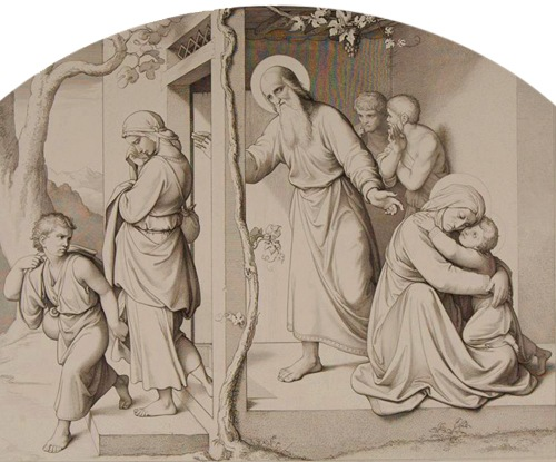 Hagar and Ishmael, Friedrich August Ludy (German engraver and etcher, 1823 – 1890), after Johann Friedrich Overbeck