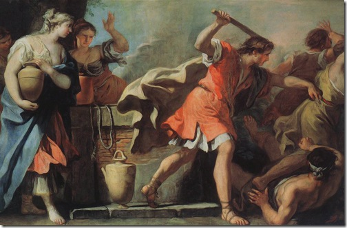Moses Defending the Daughters of Jethro, c. 1720's, Sebastiano Ricci
