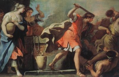Moses Defending the Daughters of Jethro, c. 1720's, Sebastiano Ricci