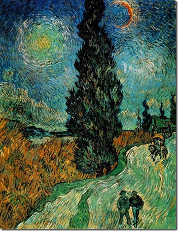 Cypress Against a Starry Sky (also known as Road with Cypresses), 1890, Vincent van Gogh