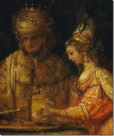 DETAIL: Ahasuerus and Haman at the Feast of Esther, 1660, Rembrandt van Rijn