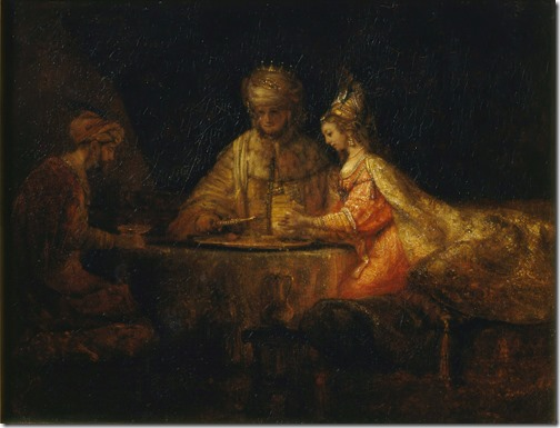 Ahasuerus and Haman at the Feast of Esther, 1660, Rembrandt van Rijn