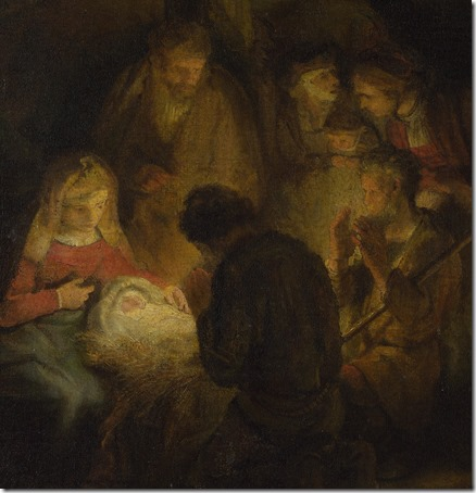 DETAIL: The Adoration of the Shepherds, 1646, Pupil of Rembrandt van Rijn