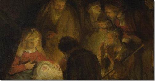 DETAIL: The Adoration of the Shepherds, 1646, Pupil of Rembrandt van Rijn