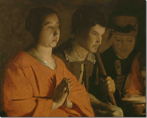 "DETAIL: The Adoration of the Shepherds (""The Nativity"" / L'adoration des bergers), ca. 1645, Georges de la Tour"