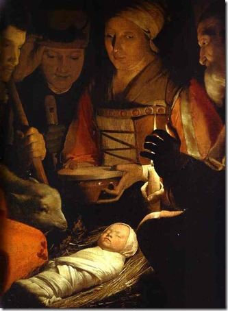 "DETAIL: The Adoration of the Shepherds (""The Nativity"" / L'adoration des bergers), ca. 1645, Georges de la TourDETAIL: The Adoration of the Shepherds (""The Nativity"" / L'adoration des bergers), ca. 1645, Georges de la Tour"