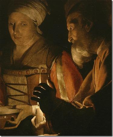 """DETAIL: The Adoration of the Shepherds (""""The Nativity"""" / L'adoration des bergers), ca. 1645, Georges de la Tour"""