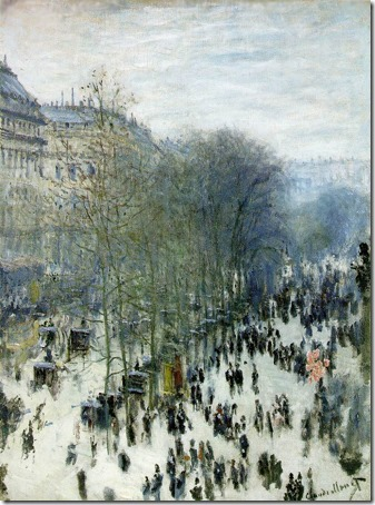 Boulevard des Capucines, 1873-1874, Claude Monet (French Impressionist Painter, 1840-1926), Oil on canvas, 80.33 x 60.33 cm (31 5/8 x 23 3/4 in.), Nelson-Atkins Museum of Art, Kansas City, Missouri, USA