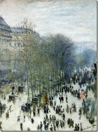 Boulevard des Capucines, 1873-1874, Claude Monet (French Impressionist Painter, 1840-1926), Oil on canvas, 80.33 x 60.33 cm (31 5/8 x 23 3/4 in.), Nelson-Atkins Museum of Art, Kansas City, Missouri, USA