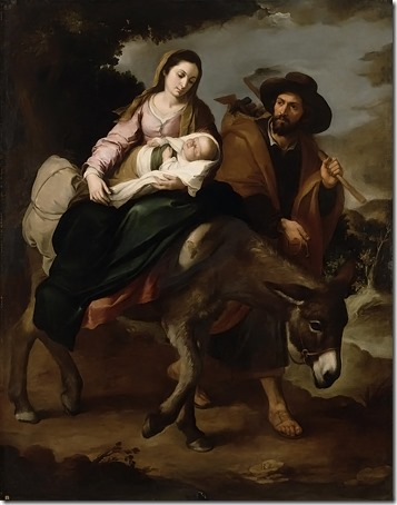 The Flight into Egypt (La huida a Egipto), 1647-1650, Bartolomé Esteban Murillo (Spanish Baroque Era Painter, ca.1617-1682), oil on canvas, 209.5 x 166.3 cm (82 1/2 x 65 1/2 in.), Detroit Institute of Arts, Detroit, MI, USA.