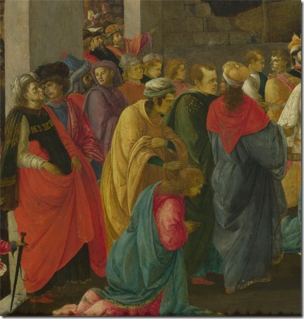 "DETAIL: The Adoration of the Magi (""Adoration of the Kings""), ca. 1465-1467, Sandro Botticelli and Filippino Lippi"