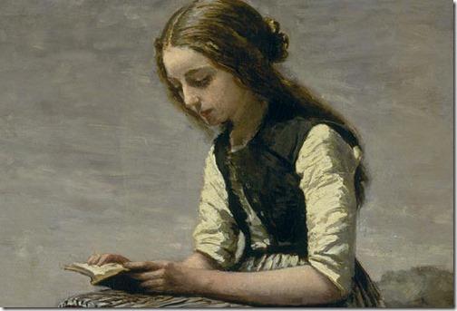 DETAIL: La Petite Liseuse (or Jeune Bergère assise et Lisant), 1855/61, Jean-Baptiste-Camille Corot