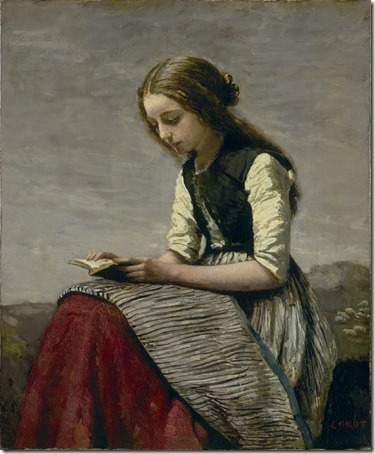 Seated Shepherdess Reading (La Petite Liseuse or Jeune Bergère assise et Lisant), 1855/61, Jean-Baptiste-Camille Corot