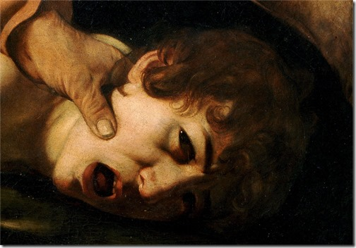 DETAIL: The Sacrifice of Isaac (Il Sacrificio di Isacco), 1603-1604, Caravaggio