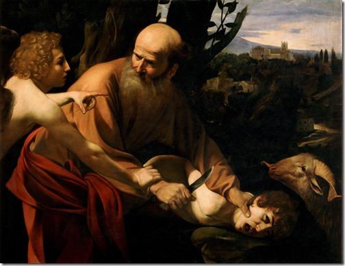 The Sacrifice of Isaac (Il Sacrificio di Isacco), 1603-1604, Caravaggio (Italian Baroque Era Painter, ca.1571-1610), oil on canvas, 104 x 135 cm (40.9 x 53.1 in.), Galleria degli Uffizi, Florence, Italy