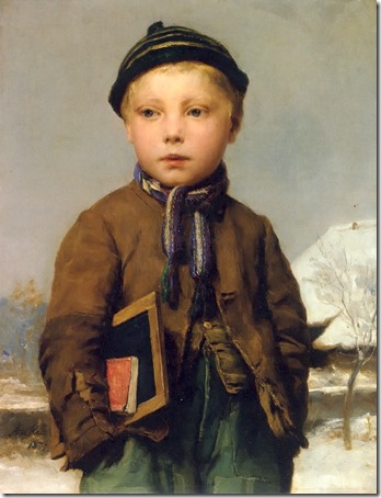 School boy with slate board in a snowy landscape (Schulknabe mit Schiefertafel in Schneelandschaft), 1875, Albert Anker