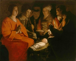 "The Adoration of the Shepherds (""The Nativity"" / L'adoration des bergers), ca. 1645, Georges de la Tour"