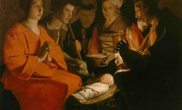 """The Adoration of the Shepherds (""""The Nativity"""" / L'adoration des bergers), ca. 1645, Georges de la Tour"""